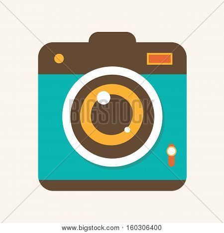 Camera retro vintage design photo lens flat vector stock