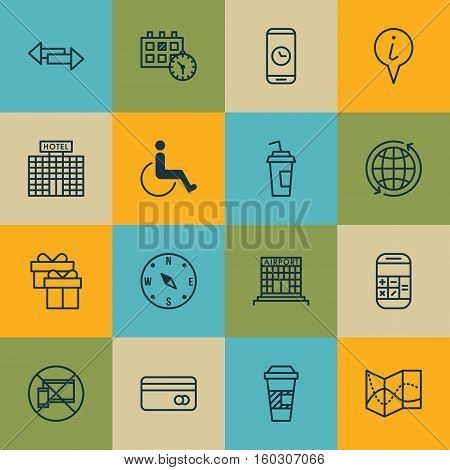 Set Of 16 Travel Icons. Can Be Used For Web, Mobile, UI And Infographic Design. Includes Elements Such As No, Arrows, Phone And More.
