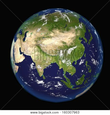 Asia and India seen from space 3d illustration