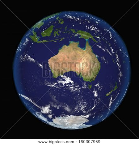 The Earth from space showing Australia and Indonesia. Other 3d orientations available.