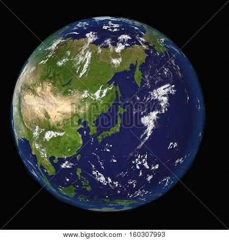 View on Earth centered on Japan elements of this 3d image