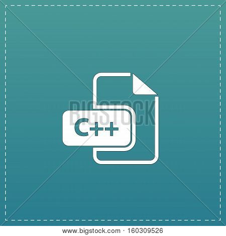 C development file format. White flat icon with black stroke on blue background