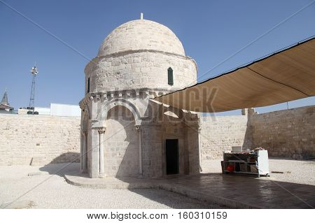 Chapel of The Ascension of Jesus Christ on Mount of Olives in Jerusalem, Israel. Place where are the last footprints of Jesus Christ on earth before he ascended into heaven.