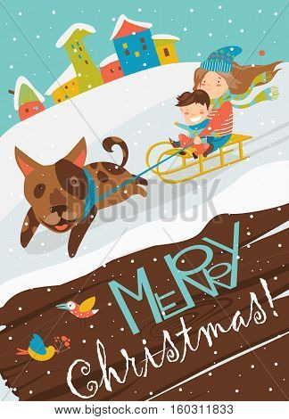 Funny dog pulling sledge with children. Vector illustration