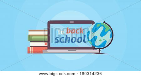Welcome back to school flat isolated illustration
