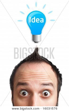 Funny Young Man With Light  Bulb Over His Head