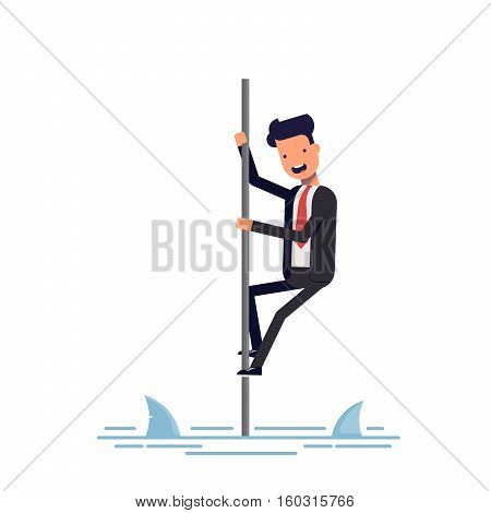 businessman or manager saved from sharks climbing the pole. Man afraid of predatory fish. Vector, illustration EPS10