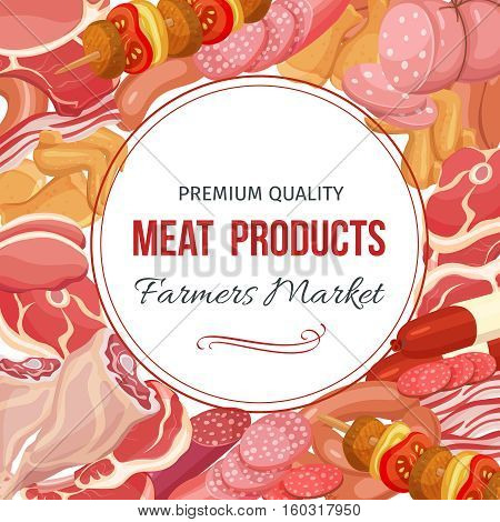 Gastronomic meat products menu design. Vector icons steak , barbecue, lamb, chops, bacon, chorizo, sausage, chicken wings, chicken legs ham salami and slices sausage