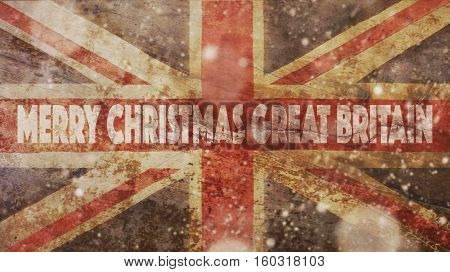 Merry Christmas Great Britain. Flag and Wood