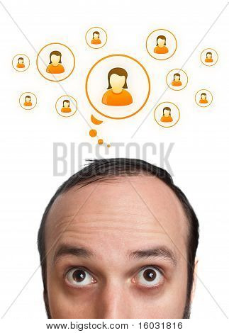 Funny Young Man With Social Icons Over Head