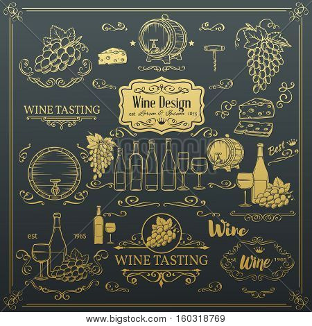 Decorative vintage wine icons. Golden design for wine shop. Vector design elements of wine and calligraphy swirl for the design of wine labels cards brochures.