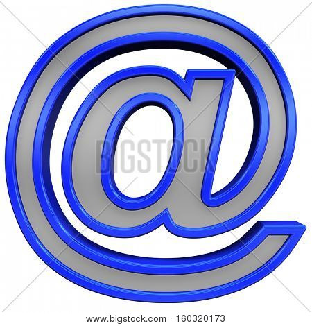 E-mail sign from gray with blue frame alphabet set, isolated on white. 3D illustration.