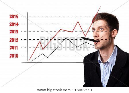 Man Analysing Graph On The Whiteboard