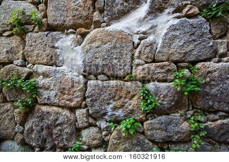 Old wall texture large stone.