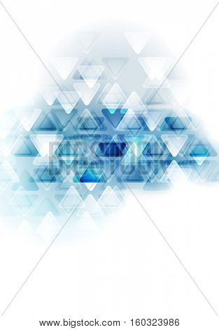 Blue white tech abstract triangles design