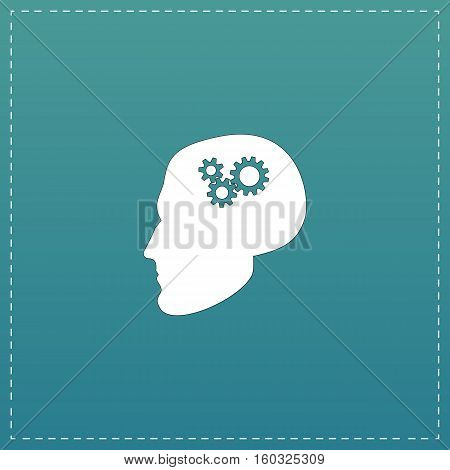 Human head gear hybrid knowledge. White flat icon with black stroke on blue background