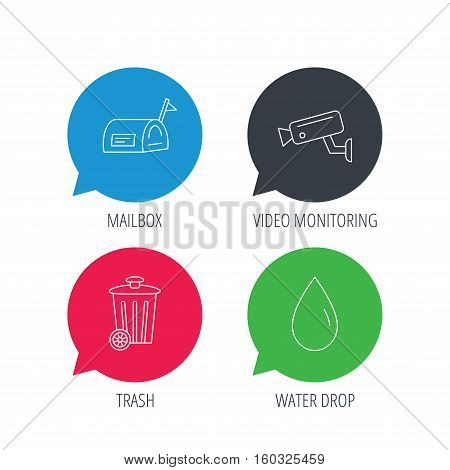 Colored speech bubbles. Mailbox, video monitoring and water drop icons. Trash bin linear sign. Flat web buttons with linear icons. Vector