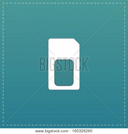 Sim card. White flat icon with black stroke on blue background