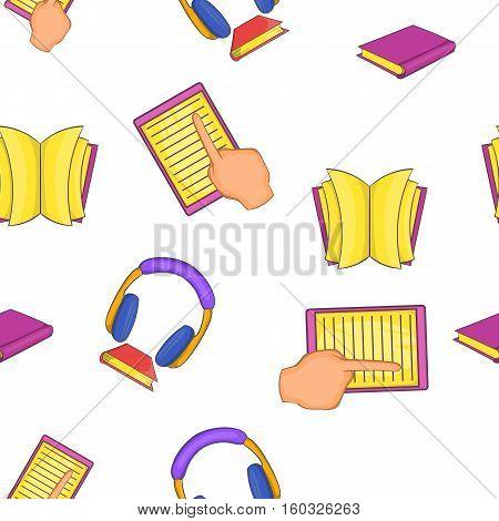 Textbooks pattern. Cartoon illustration of textbooks vector pattern for web