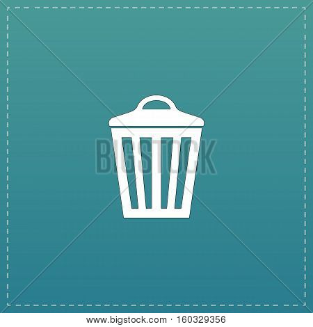 Trash can. White flat icon with black stroke on blue background