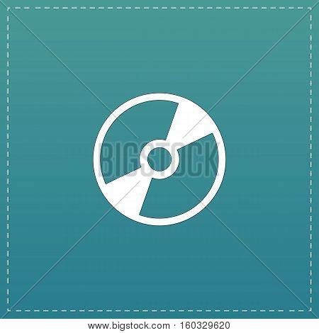 CD or DVD. White flat icon with black stroke on blue background