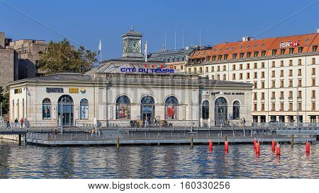 Geneva, Switzerland - 24 September, 2016: the Cite du Temps building. Cite du Temps is a public exhibition center focusing on the world of time, including a permanent exhibition of Swatch watches.