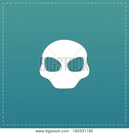 Alien Head. White flat icon with black stroke on blue background