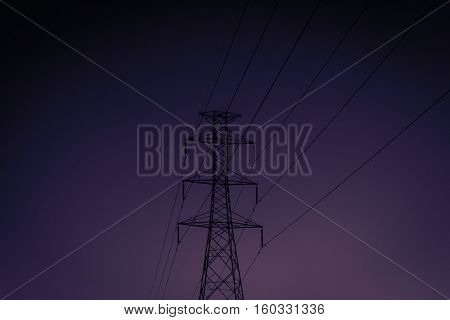 High voltage electricity pylon In the evening