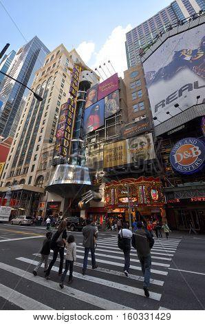 NEW YORK CITY - OCT 2, 2011: Theater District near Times Square on 42th street, Manhattan, New York City, USA.
