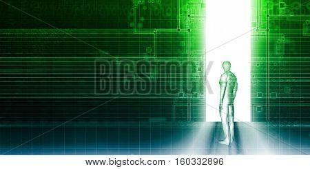 Digital Portal Gateway Access Door or Doorway to Technology 3d Illustration Render