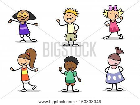 Many different kids of different nationalities as set