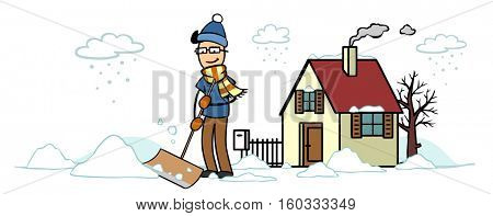 Cartoon of man outside house removing snow in winter