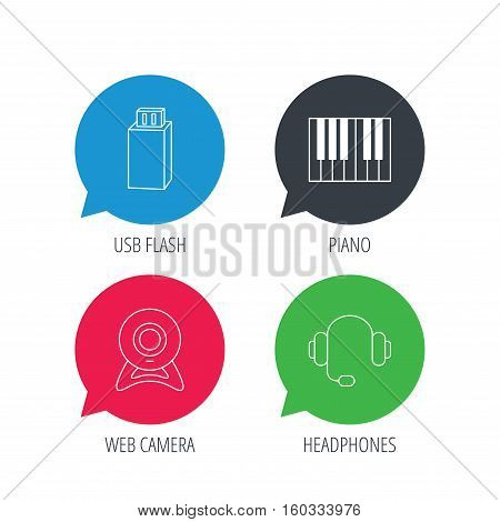 Colored speech bubbles. Web camera, headphones and Usb flash icons. Piano linear sign. Flat web buttons with linear icons. Vector