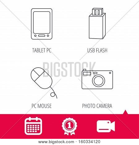 Achievement and video cam signs. Tablet PC, USB flash and photo camera icons.PC mouse linear sign. Calendar icon. Vector