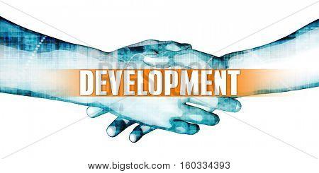 Development Concept with Businessmen Handshake on White Background 3d Render