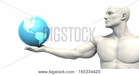 Science Research in a Global Community with Globalization 3d Render