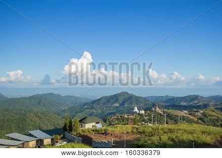 Khao Kho mountain view and Wat Pha Sorn Kaew Phetchabun Thailand