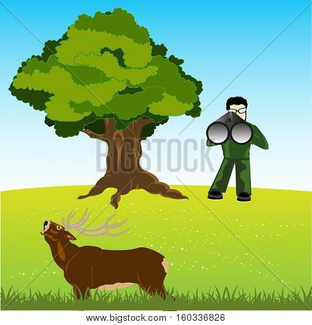 The Huntsman on nature unadulterated in deer.Vector illustration