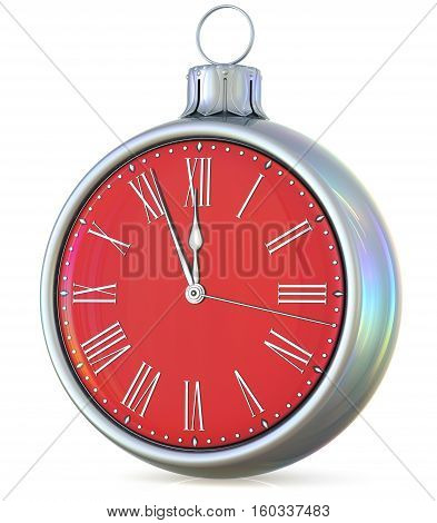 New Year's Eve clock midnight hour countdown pressure Christmas ball decoration ornament silver red sparkly adornment bauble. Seasonal happy wintertime holidays beginning future time. 3d illustration