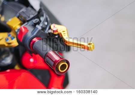 Details of sport motorbike handle bar and clutch lever