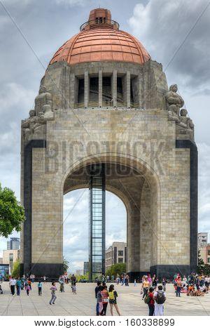 Mexico City Mexico - July 7 2013: Monument to the Mexican Revolution (Monumento a la Revolucion Mexicana). Built in Republic Square in Mexico City in 1936.
