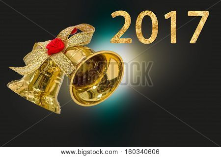 Happy New Year 2017 year on abstract blur festive background