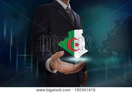 Businessman showing map of Algeria on globe background