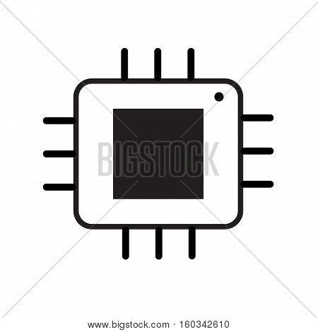 Computer microprocessor icon on white background. Computer microprocessor sign.