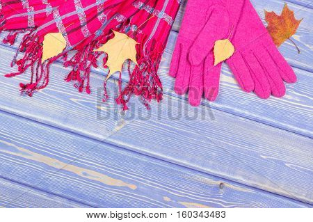 Gloves And Shawl For Woman On Old Boards, Clothing For Autumn Or Winter, Copy Space For Text