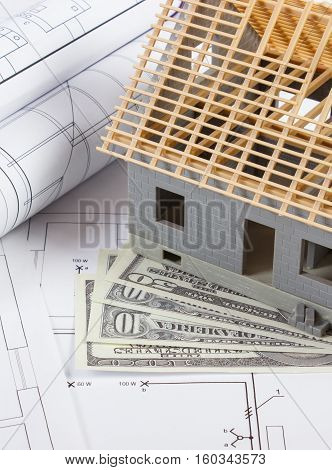 House Under Construction, Currencies Dollar And Electrical Drawings, Concept Of Building Home