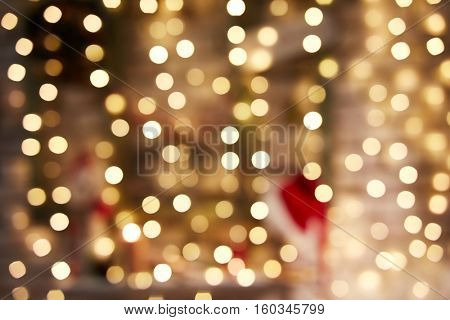 Blurry Christmas lights out of focus background. Christmas texture for decoration and graphic design.