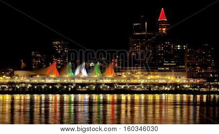 Vancouver City, Downtown,  night time,   Tower Illuminated with Christmass stile