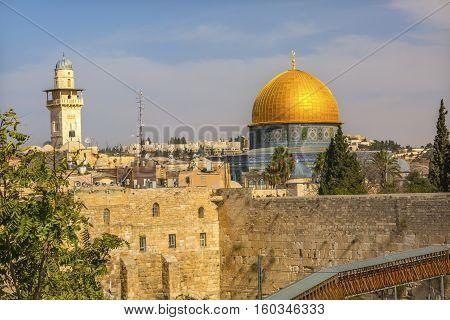 Golden Dome of the Rock Ghawanima Minaret Western