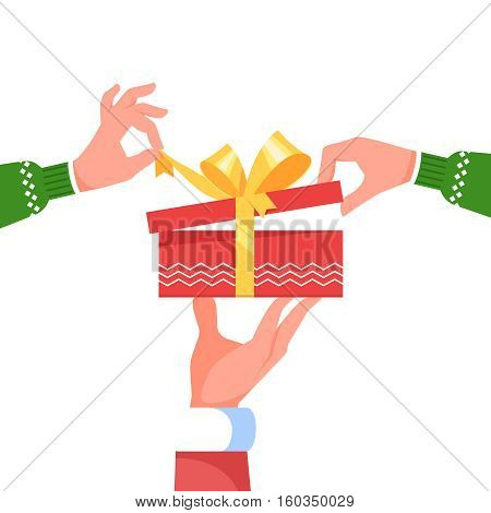 Hand Santa Claus holding give big gift box present with yellow bow on white background. Hands in winter Christmas clothes open red gift box surprise. Vector illustration template flat style.